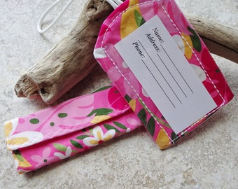 Luggage ID Tag, Luggage Handle Wrap, Travel Gift Set, Tropical Pink Floral Fabric, Hawaiian, Beach, Island Style, Vacation Gift