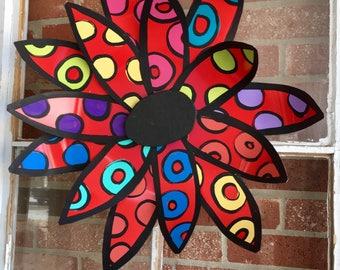 Metal flower door hanger, Spring door decor, easter decor