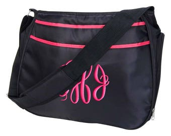 Personalized Diaper Bag Black Hot Pink, Hobo Style, Monogrammed Baby Girl Tote