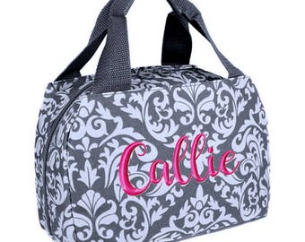 Personalized Lunch Bag Gray Damask Insulated Monogrammed School