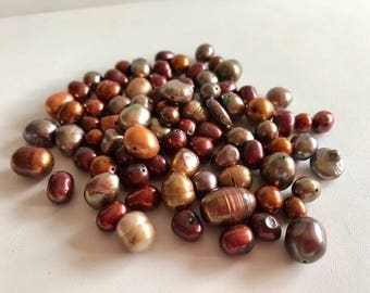 Freshwater Pearl Beads-Gold & Brown Pearl Beads