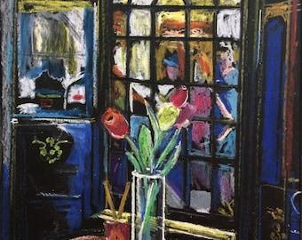 Original Wall Art - Original Oil Pastel - Window Art - Floral Artwork - Nice, France Artwork