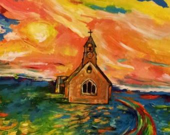 Wall Art - England Art - Art Print- Landscape Art - Country Church - Leah Reynolds