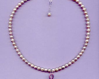 BREAST CANCER 18in adjustable pink or WHITE 8mm round freshwater continuous pearl necklace breast cancer pink rhinestone awareness charm