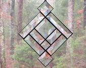 Stained Glass Suncatcher- Clear Bevels, Southwest Prairie Design