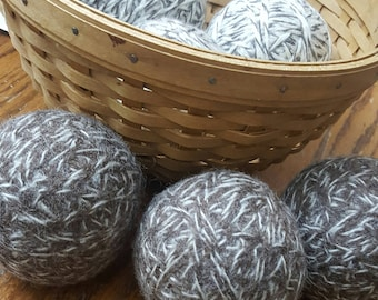 6, 100% wool dryer balls (3 brindle and 3 toasted almond)