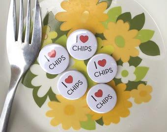I Love Chips Refrigerator Magnet