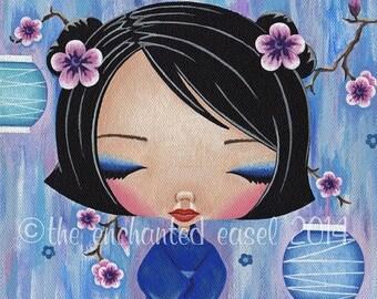 50% OFF Kokeshi Painting, Blue, Girls Room, Kawaii, Square, Canvas, Japanese, Lanterns, Plum Blossoms, Girls Wall Art, Nursery Art, Cute, Do
