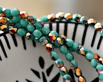 Little Sparkles - Premium Czech Glass Beads, Opaque Turquoise, Luster Finish, Facet Firepolish Rounds 4mm - Pc 30