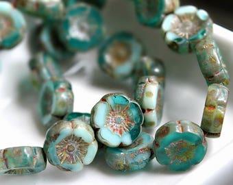 Ocean Breeze - Premium Czech Glass Beads, Transparent Aqua, Opaque Turquoise, Picasso Finish, Small Hawaiian Flowers 12mm - Pc 6