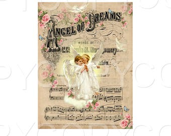 INSTANT DOWNLOAD - Angelic  Song  - 5 x 7 inch Single Image -  Printable Digital Collage Sheet - Digital Download