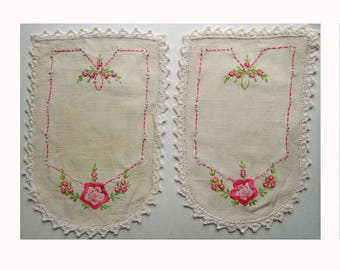 Pair of Pretty Pink Floral Embroidered Antimacassar Arm Chair Covers