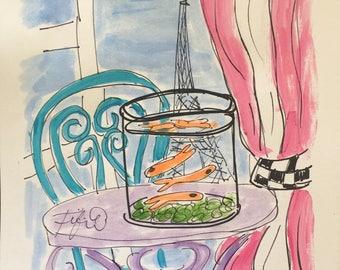 Pink Striped Drapery Goldfish Paris
