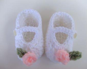 CROCHET PATTERN - CV095 Crochet Rose Baby Shoes - PDF Download