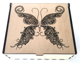Large Butterfly Essential Oil Box, Swirl Butterfly, Aromatherapy Storage Box, Essential Oil Case, Aromatherapy, Oil Organizer