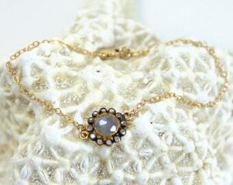 Natural Chalcedony Halo Bracelet