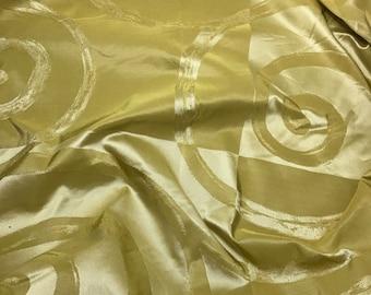 Silk Taffeta Fabric - Olive Green Swirl - fat 1/4