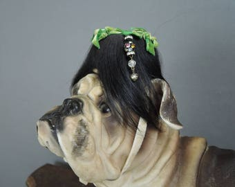 Vintage DOG Hat, custom made Pillobox 1960s Bullock's Wilshire, for Tiny Dog, Black Hair and Charms