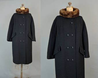Vintage Black Wool Coat, Thick Ribbed Wool with Mink Fur Collar fits 38 inch bust, Heavy Winter Coat, Forstmann