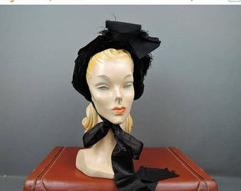 20% Sale - Victorian 1800s Velvet Hat, Black Bonnet with Feathers As Is
