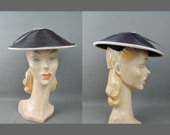 Vintage Saucer Hat Navy & White Straw Hat with Feather, 21 inch head 1950s