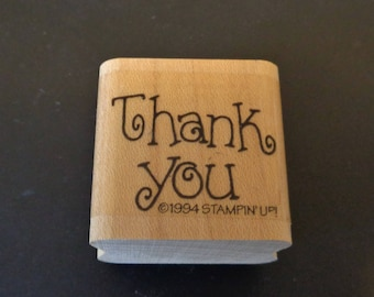 Stampin' Up Thank You Stamp - Used - Vintage