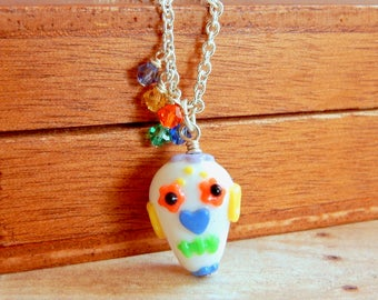 Sugar skull necklace with swarovski crystals - Day of the dead - halloween