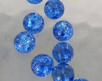 14mm Periwinkle Blue Crackled Glass Marbles 10 pieces Cracked Baked Jewelry Pendant Making Supplies Visual Arts Orbs Glass Stone