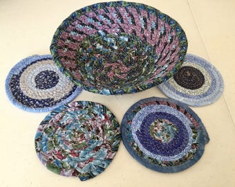 Coiled Fabric Coasters and Bowl Set, Trivet,  Mug Rug - Blue -Home and Living, Kitchen,  handmade