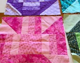 Quilt Squares, Set of Six, Cotton, 12 Inch Squares Pieced Quilting, Pink, Black and White, Green, and Purple