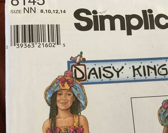 Simplicity 8145 Daisy Kingdom Childs Dress, Hat and Doll Dress Pattern, size 8-14, uncut
