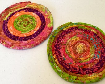 8.25 Inch Coiled Fabric Doilies, Mat, Hot Pad, Candle Mat,  Set of 2,  Mug Rug - Orange, Green, Pink - Home and Living, Kitchen,  handmade