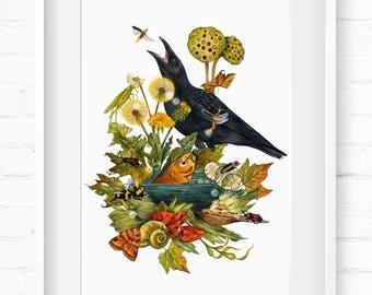 Summer in Nature, Home Decor, Wall Art, Art Print, Wall Decor, Giclée Print, Animal Print, Nursery Art, Children's Wall Art, Spring Animals
