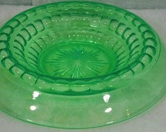 Vintage Green Glass Table Centerpiece - Console Bowl - Depression Glass Center Piece
