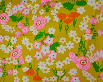 Vintage Crantex Screen Print Fabric with Mod Flowers in Gold - Hot pink, Bright Green White and Orange