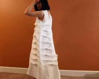 Alternative eco wedding linen spiral pleat dress made to measure listing / beach wedding dress / casual wedding dress / white linen wedding