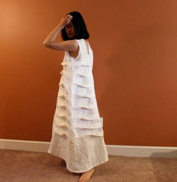 Alternative eco wedding linen spiral pleat dress made to for White linen dress for beach wedding