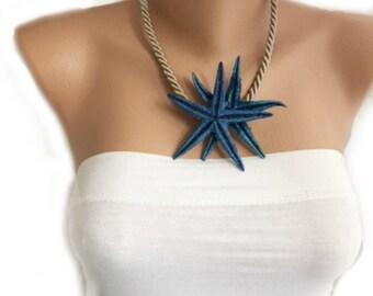 Navy Blue Starfish Necklace, Nautical Weddings ,Beach Brides ,