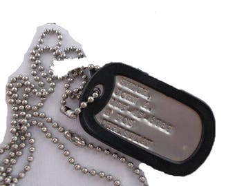Real Single Debossed Military Dog Tag Made Just For You Custom Personalized