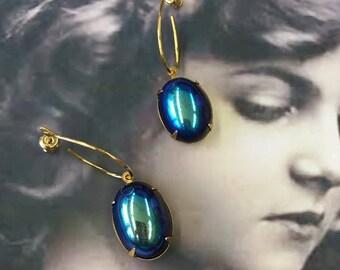 Vintage West German Jet Glass Glacier 13x18 Cabochon Earring Kit Options 646GOL x2