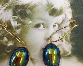 Vintage West German Jet Glass Aurora Borealis 13x18 Cabochon Earring Kit Options 646GOLab x2