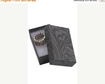 STOREWIDE SALE 50 Pack of 2.5X1.5X7/8 Inch Size High Quality Black Fleur Cotton Filled Jewelry Presentation Boxes