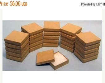 STOREWIDE SALE 10 Pack Kraft 3.5 X 3.5 X 1 Inch  Size Cotton Filled Jewelry Presentation Gift Boxes
