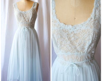 Marfield | Vintage 1950s Nightgown Pale Blue Nylon Chiffon and Lace Beaded Neckline Vintage 50s Sleepwear Fifties Dress Marshall Fields S/M