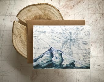 Mt Hood Winter Greeting Card, Mount Hood Blue painting Mountain illustration card, Oregon mountain card, print art topo map art, blank card