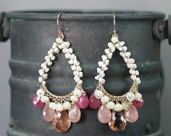 Summer SALE Oregon Sunstone earrings , Umba Pink Sapphire, Ethiopian Opal, Fresh Water Pearls chandelier, 14k gold filled hooks ... BELLESIA
