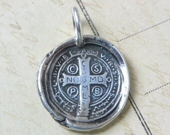 ON SALE St Benedict Cross Wax Seal Necklace / Pendant