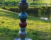 Colorful Garden Totem Pole, Garden Art, Pottery Totem Pole with lizards, carving, textured pieces and more