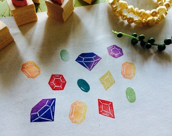 Gem rubber stamp set//Stone stamp set// hand carved and hand crafted
