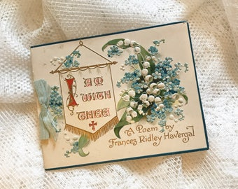 Gorgeous Antique Victorian Greeting Card Prayer Poem Forget Me nots